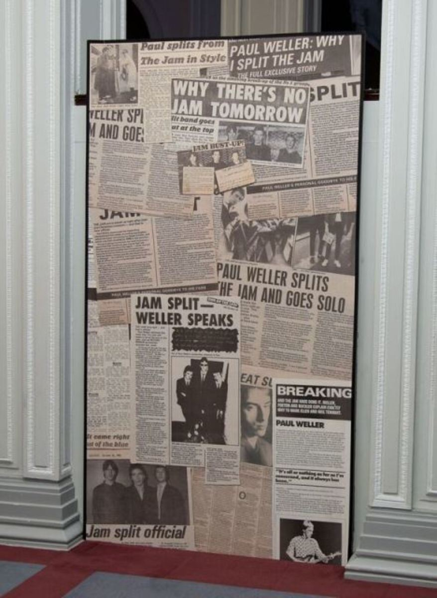 Blow ups of press clippings about The Jam's 1982 split at the Liverpool exhibition. (Photo by Dean Fardell for Nicetime Productions)