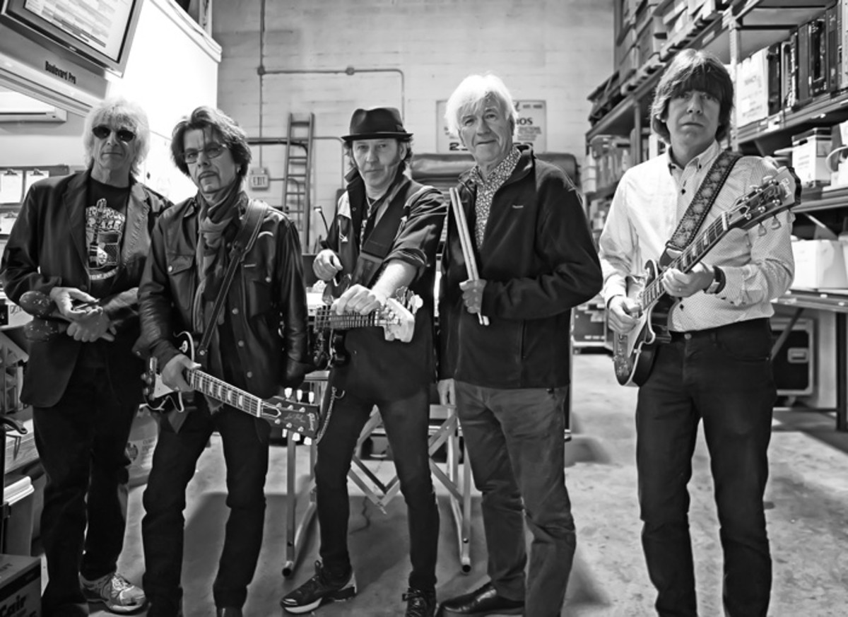 YARDBIRDS 2016 (L-R): Myke Scavone, Johnny A, Kenny Aaronson, Jim McCarty and John Idan. (Photo by Arnie Goodman)