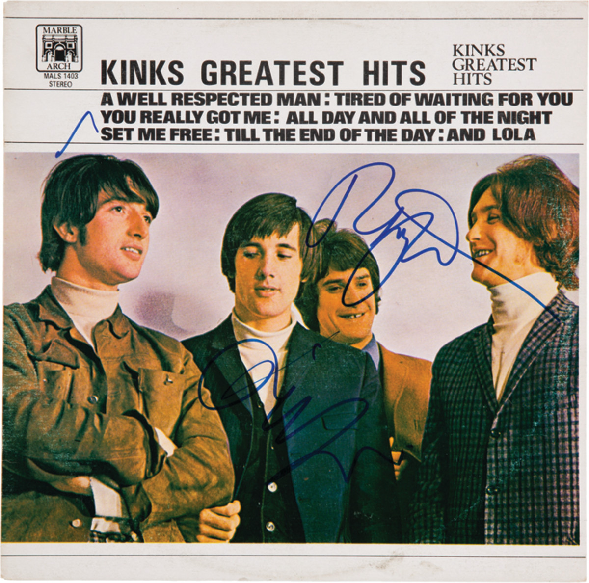 """This album cover (minus the vinyl) of """"Kinks Greatest Hits"""" (Marble Arch Records MALS 1403, Canadian, 1975) was signed by both Ray and Dave Davies and sold by Heritage Auctions this year for a cool $400. Photo image courtesy of HA.com."""