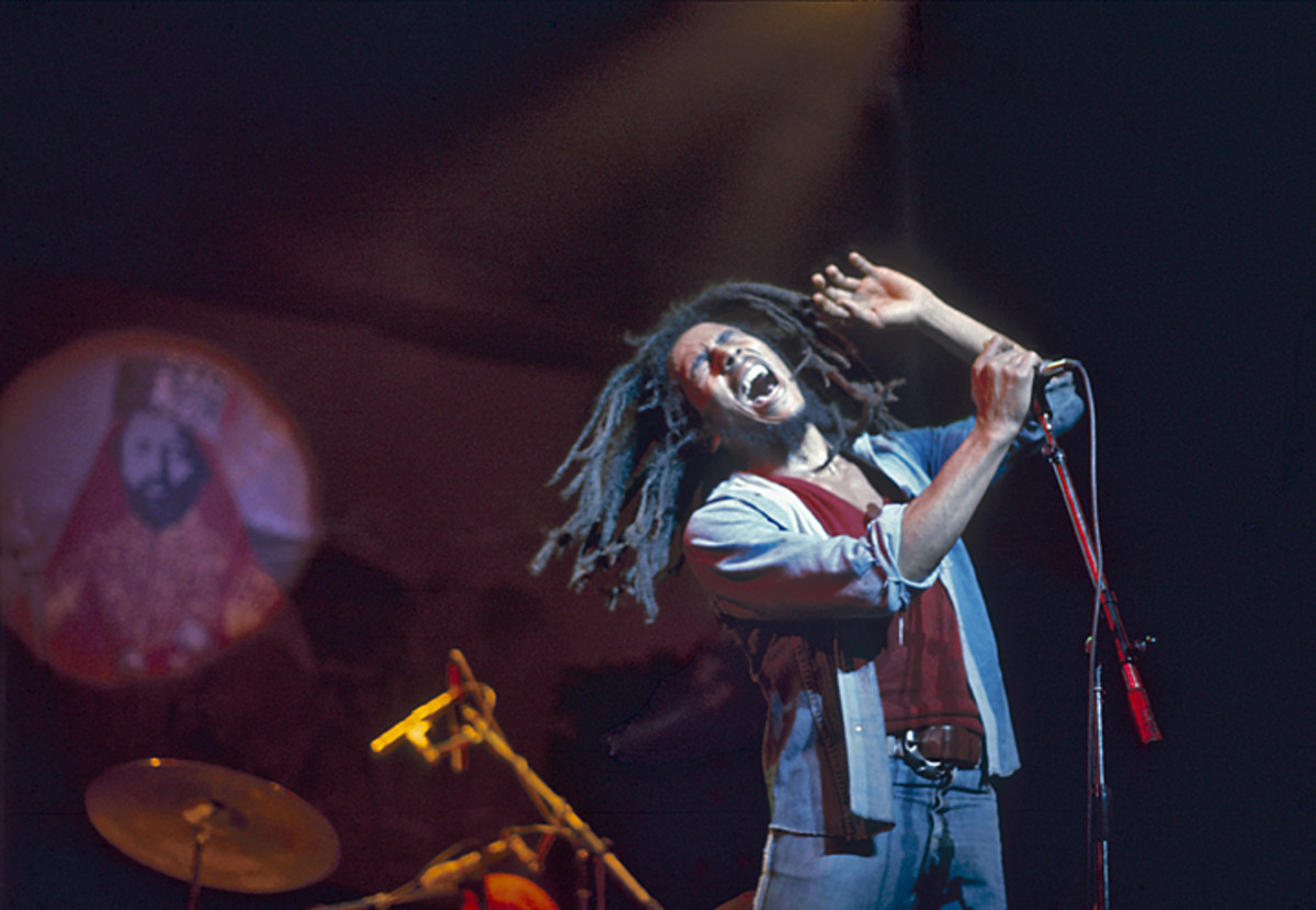 Bob Marley performing a memorable gig at London's Rainbow Theatre in June 1977. Graham Wiltshire/Redferns