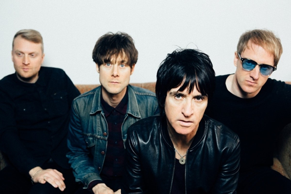 Legendary guitarist Johnny Marr (pictured second from right) and his band (left to right), drummer Jack Mitchell, bassist Iwan Gronow, and guitarist/keyboardist James Doviak, brought Marr's Call The Comet tour to NYC's Irving Plaza on Monday, October 15th. (Photo by Niall Lea)