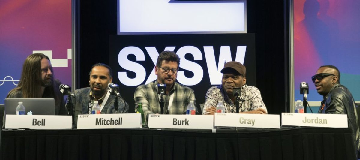 """Left to right: Producer Chris Bell, Lawrence """"Boo"""" Mitchell, Concord Music Group president John Burk, Robert Cray and Steve Jordan. (Photo by Chris M. Junior)"""
