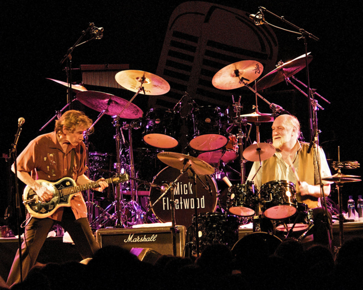 Rick Vito and Mick Fleetwood on tour, jamming away. Photo courtesy of www.mickfleetwoodblues.com.