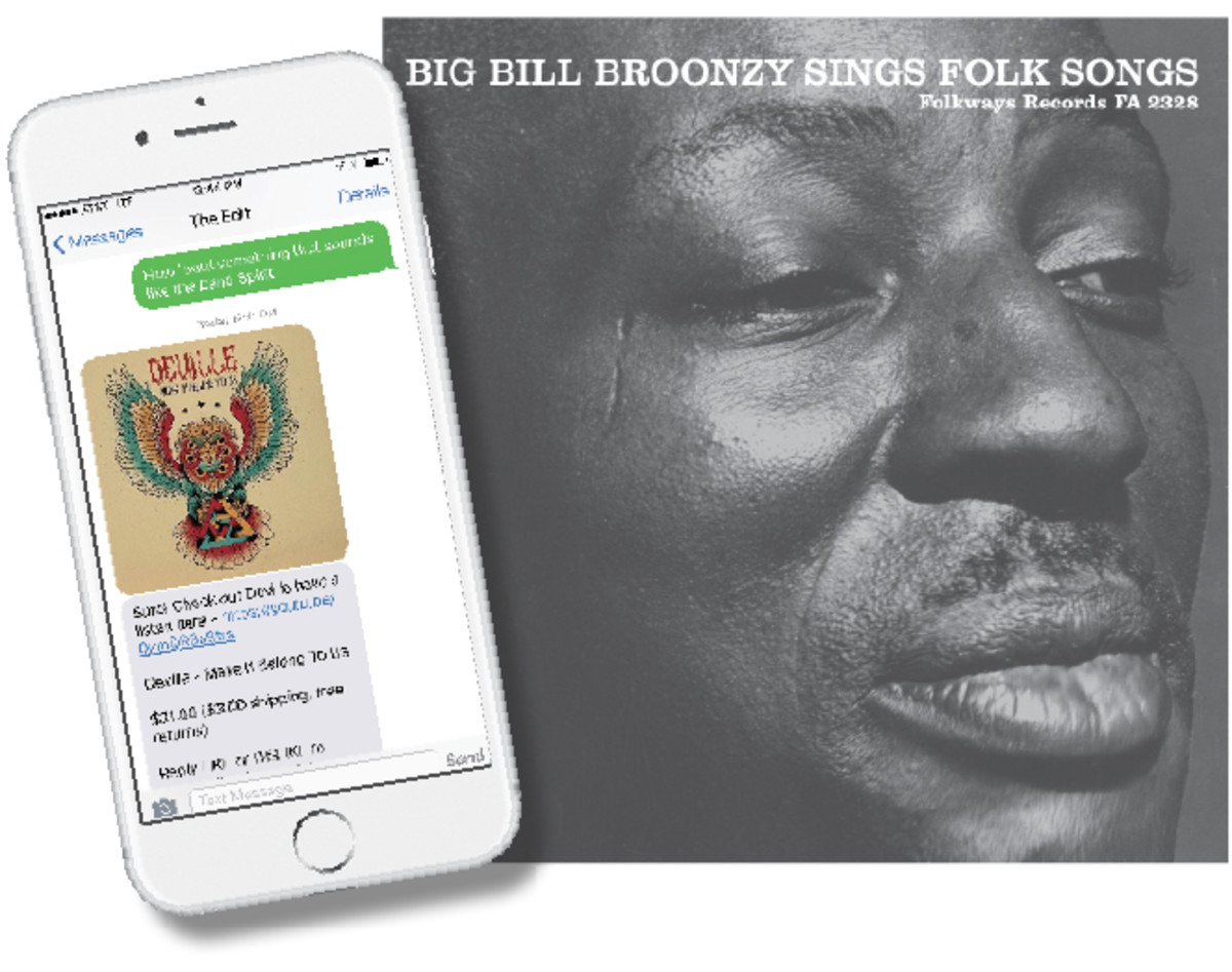 "ReplyYes has a handy, easy-to-use app at a subscriber's beck and call (far left); while Vinyl Me, Please partnered with Smithsonian Folkways to release the 11-track, 180-gram vinyl remaster of ""Big Bill Broonzy Sings Folk Songs."""