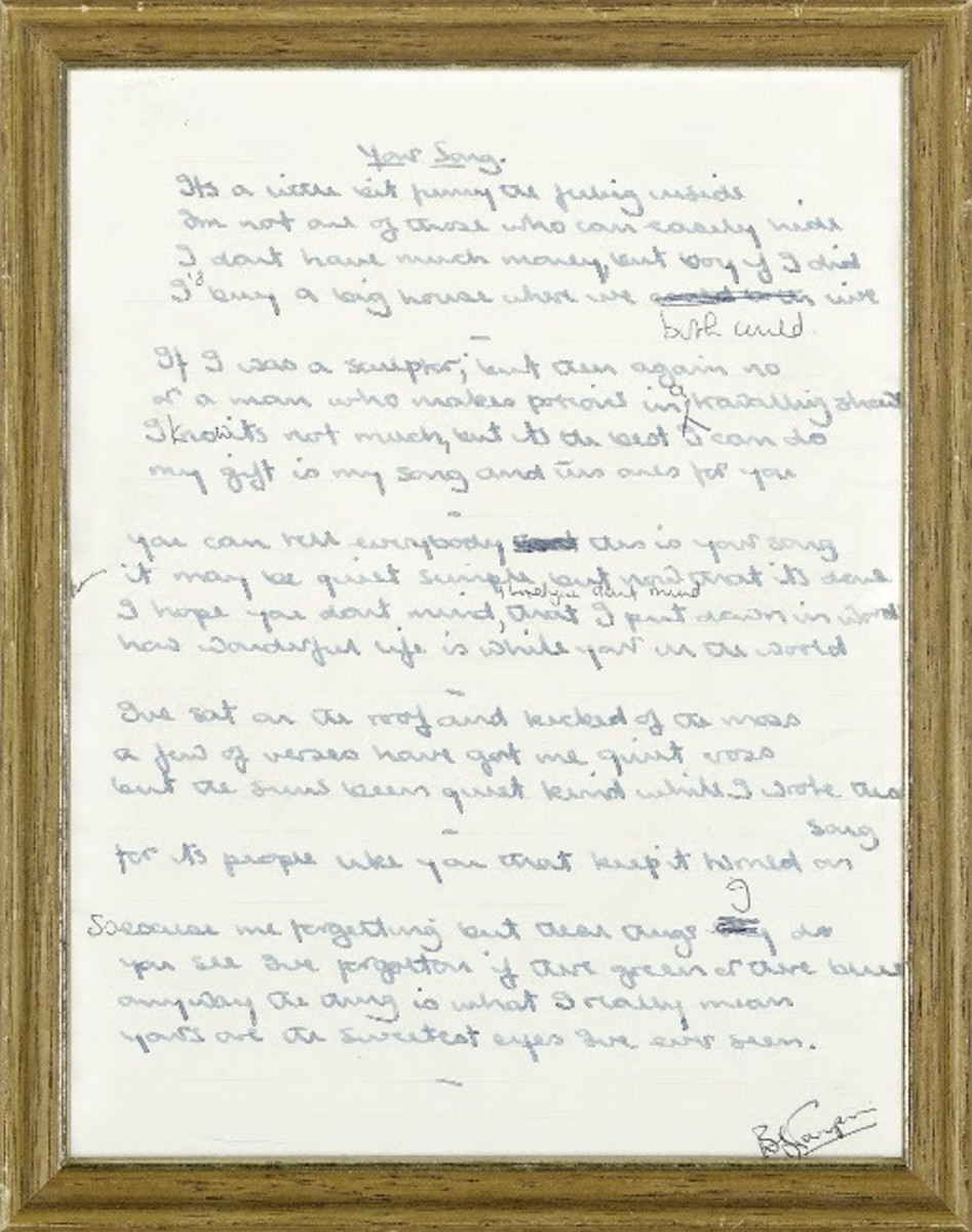 "Original handwritten lyrics of ""Your Song."" From the private collection of Maxine Taupin. Courtesy of Bonhams."