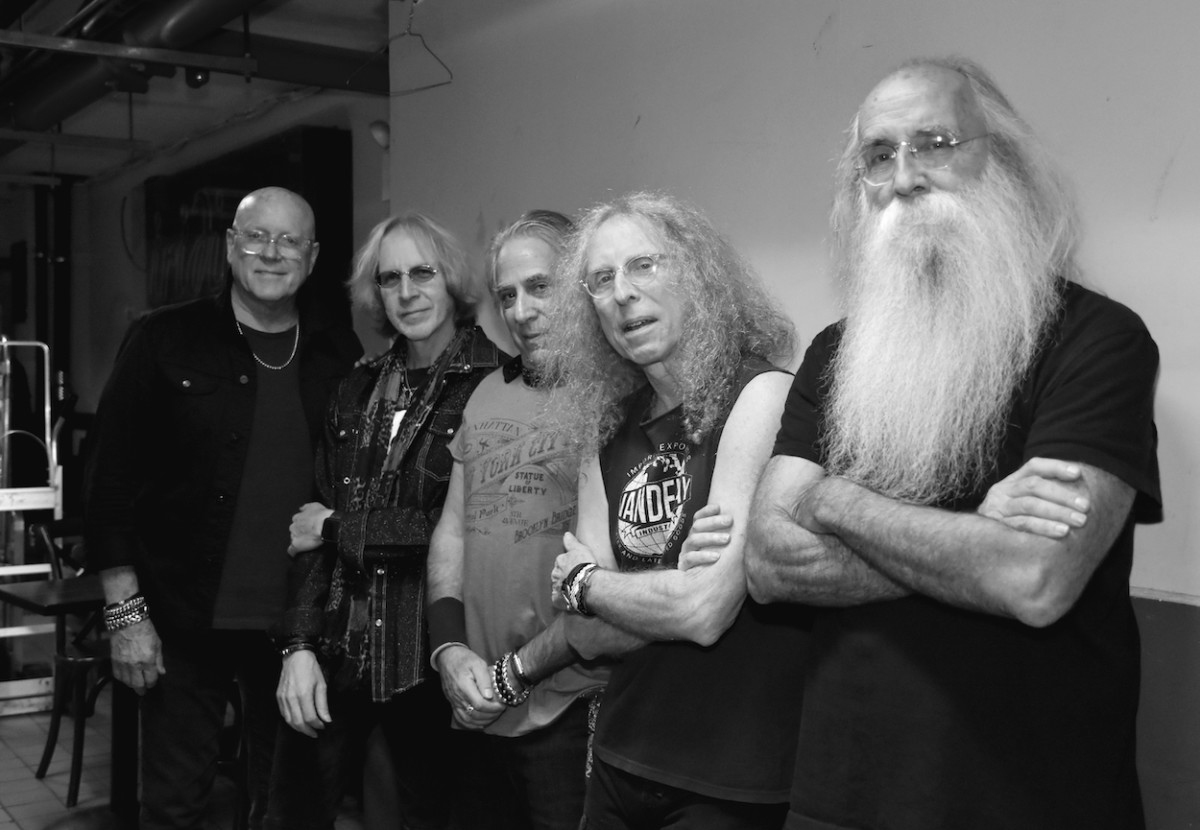 Left to right: Russ Kunkel, Steve Postell, Danny Kortchmar, Waddy Wachtel and Leland Sklar prior to The Immediate Family's Oct. 25 show at The Iridium in New York. (Photo by Chris M. Junior)