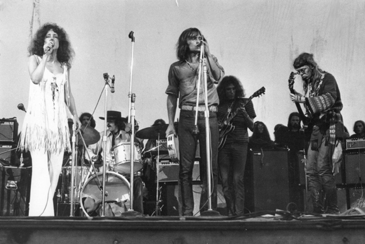 Jefferson Airplane performing at Woodstock. Photo taken by Jason Laure/Frank White Photo Agency.