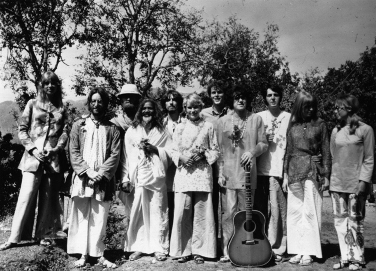 Game Changer: Devotees of the Mahareshi Mahesh Yogi at his academy in India, high up in the Himalayas, where they have come to study transcendental meditation, March 1968. From left to right, Patti Boyd, John Lennon (1940-1980), Mike Love of The Beach Boys, Mahareshi Mahesh Yogi, George Harrison (1943-2001), Mia Farrow, John Farrow, Donovan, Paul McCartney, Jane Asher, Cynthia Lennon. (Photo by Keystone Features/Hulton Archive/Getty Images.)