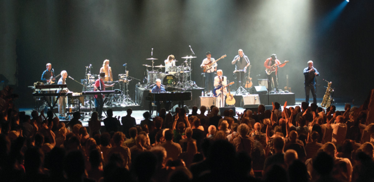 """Brian Wilson and his band (including Al Jardine and Blondie Chaplin) performing a celebration of """"Pet Sounds' 50th Anniversary"""" at Salle Wilfrid-Pelletier Hall during the Montreal Jazz Festival on July 7, 2016. Photo courtesy of FIJM publicity."""