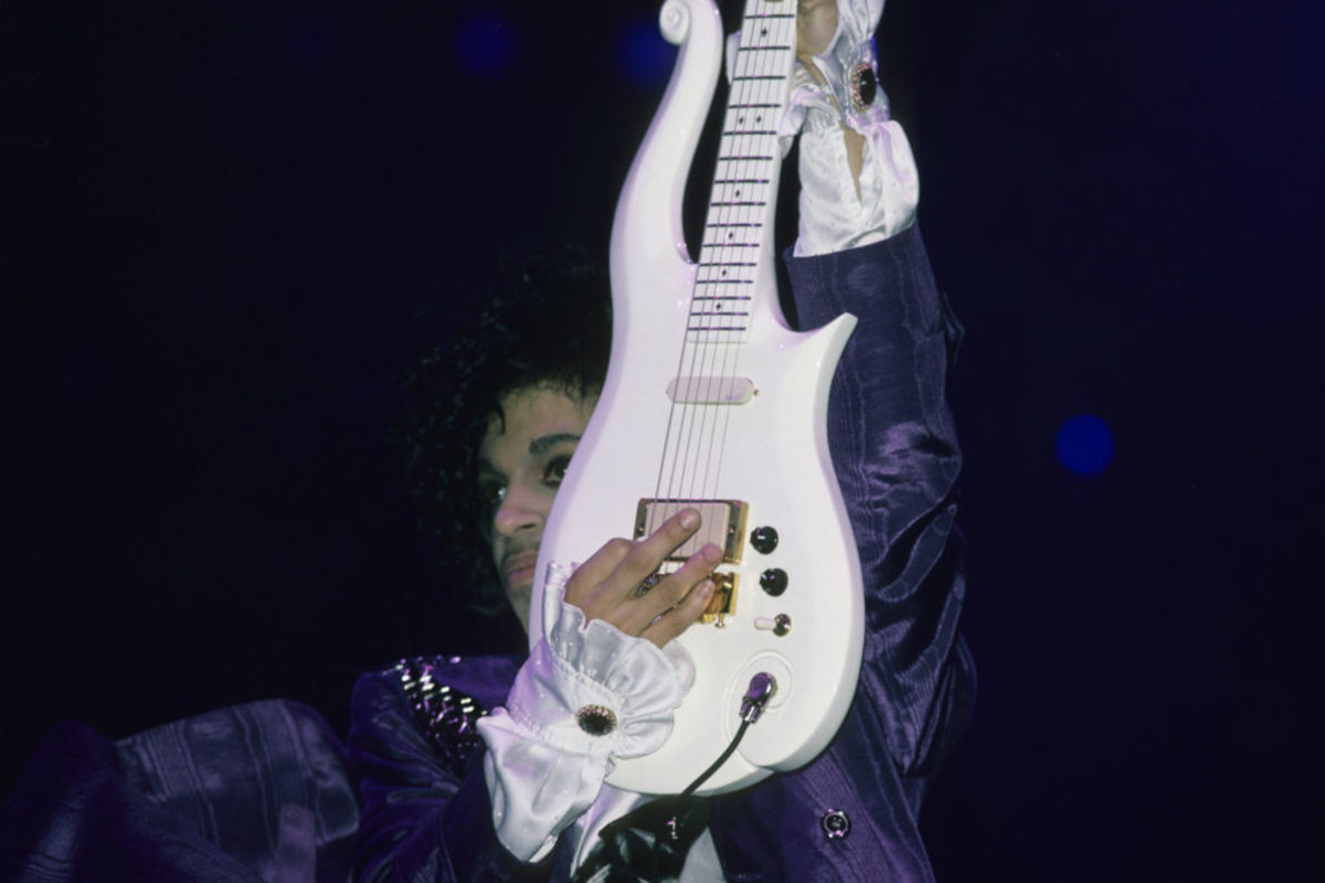 Prince performs in concert circa 1989 in New York City. (Photo by L. Busacca/WireImage)