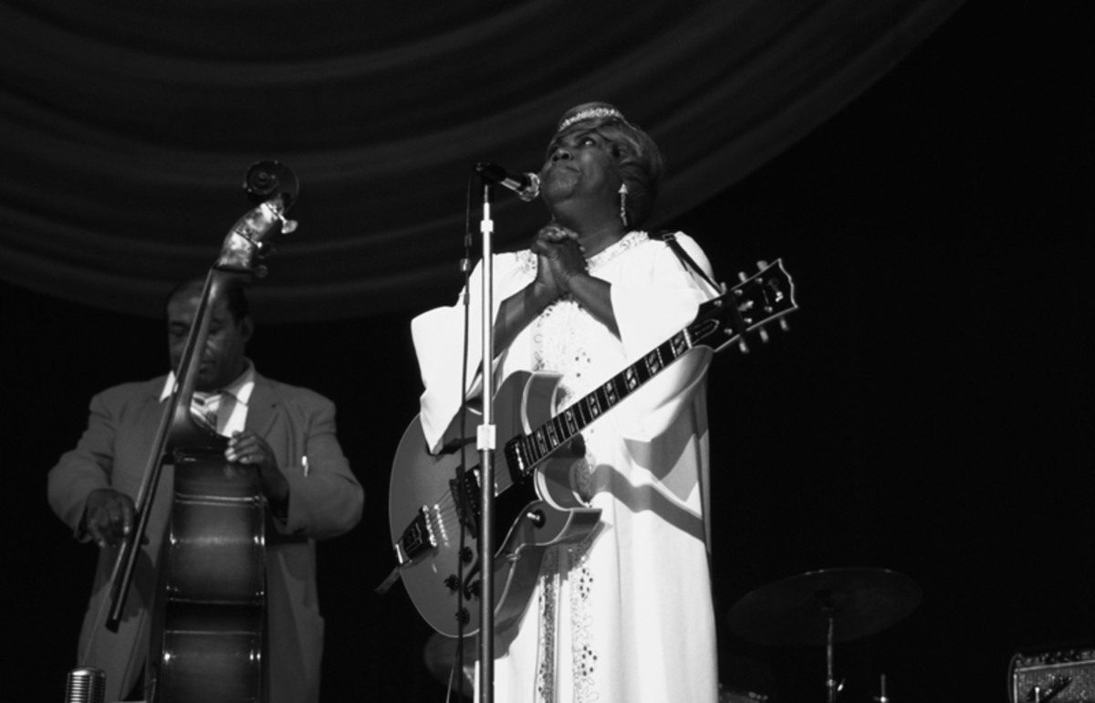 Sister Rosetta Tharpe performs on stage at Hammersmith Odeon, London, 1967. She is playing a Gibson Barney Kessel guitar. (Photo by David Redfern/Redferns)