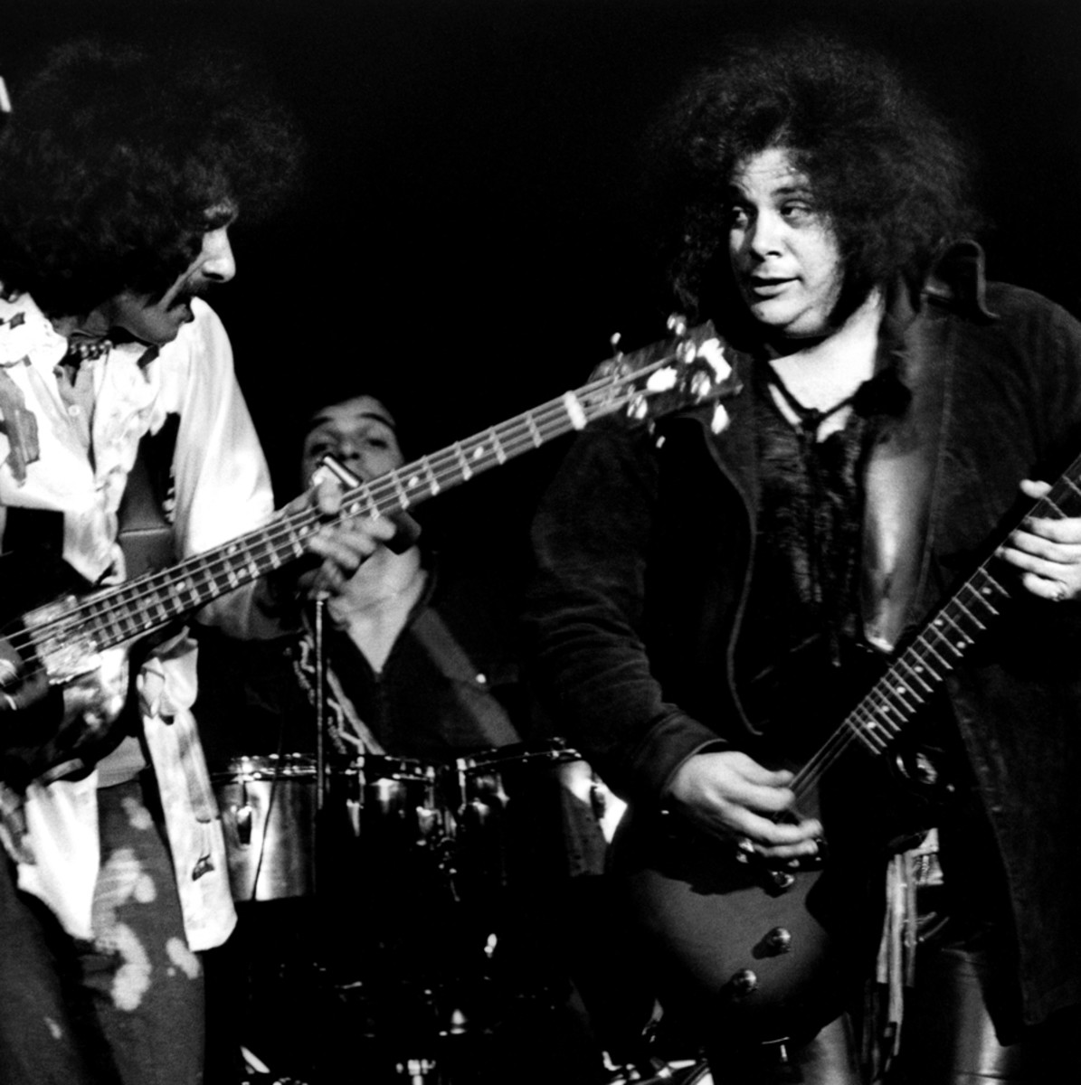 Felix Pappalardi and Leslie West performing together as Mountain, April, 1970 in San Francisco, California.