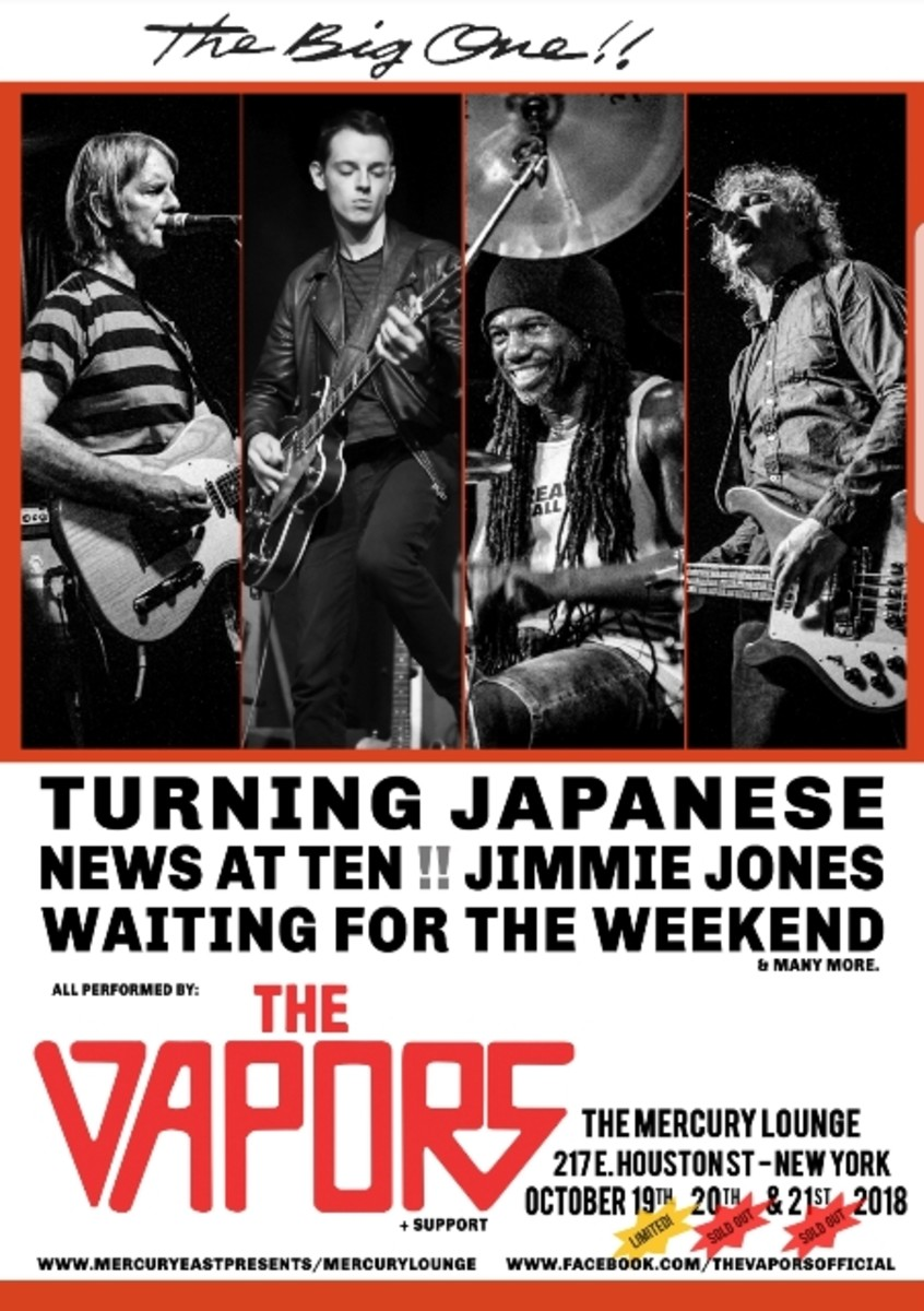 The poster for The Vapors' shows at NYC's Mercury Lounge in October is pictured here.