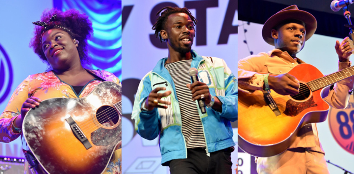 Yola, Eric Burton and J.S. Ondara (left to right) on the Radio Day Stage. (Photos by Chris M. Junior)