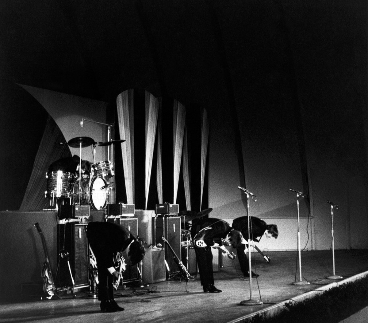 The Beatles perform at Hollywood Bowl in Los Angeles, California on 23 August 1964. ©Getty Images
