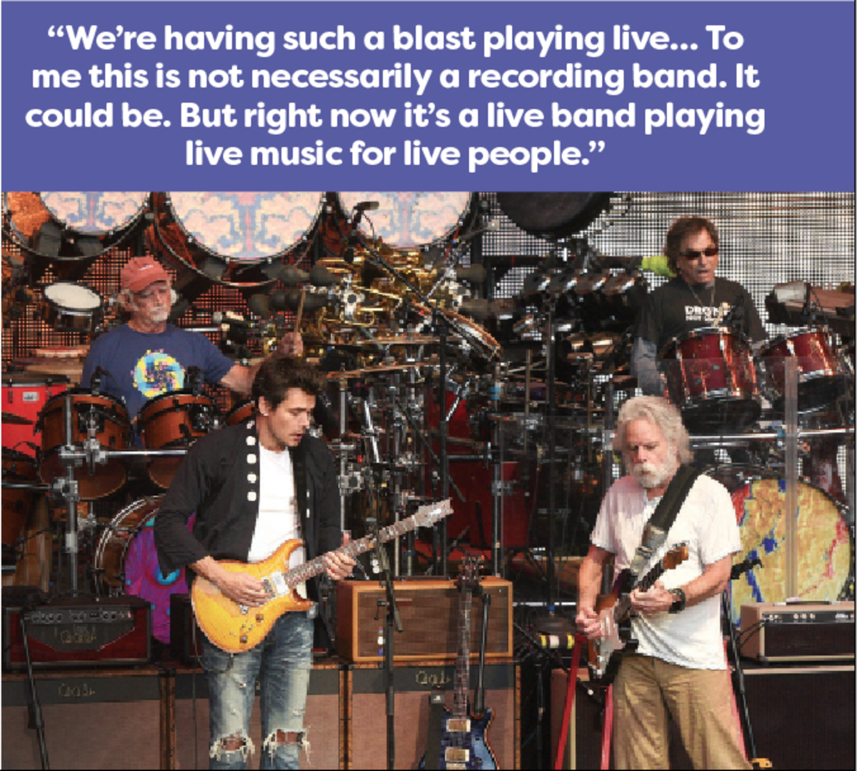 Bill Kreutzmann, John Mayer, Bob Weir and Mickey Hart of Dead & Company perform during their 2016 summer tour. Photo by C Flanigan/Getty Images.