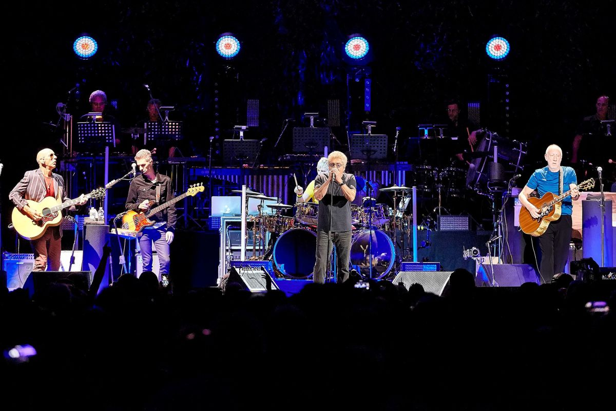 Some of The Who's touring band are shown performing at New York City's Madison Square Garden on Sunday, September 1st. They are (left to right) Simon Townshend, Jon Button, Zak Starkey, Roger Daltrey and Pete Townshend. (Carl Scheffel/MSG Photos)