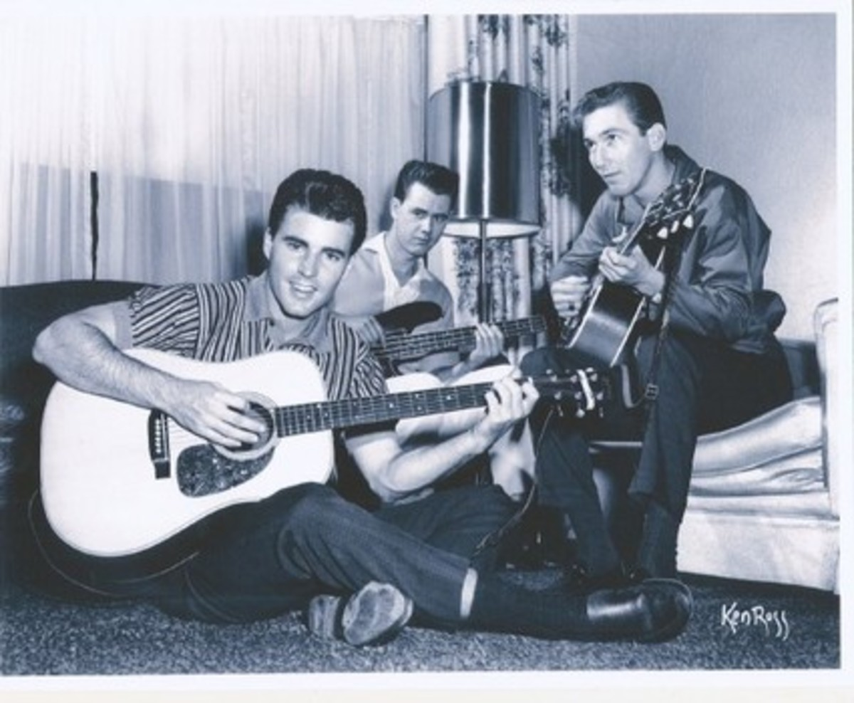 A pretty fair trio with Joe Osborn pictured center between Ricky Nelson and soon to be inducted James Burton. Photo courtesy of Joe Osborn c/o PopCultureClassics.com