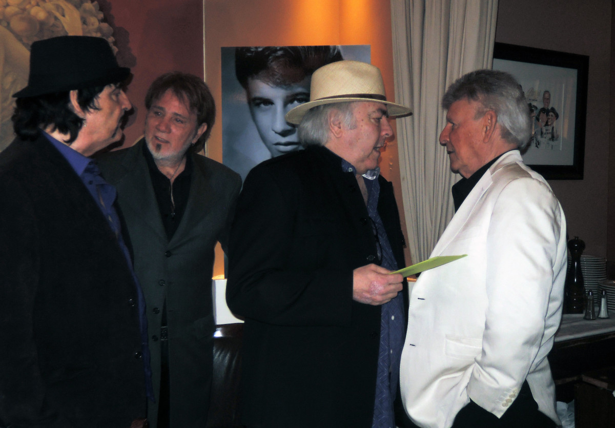 Guests at the April 25 birthday celebration in New York for Bobby Rydell (in white) included (from left to right) Carmine Appice, Franke Previte and Rascals guitarist Gene Cornish. (Photo by Chris M. Junior)