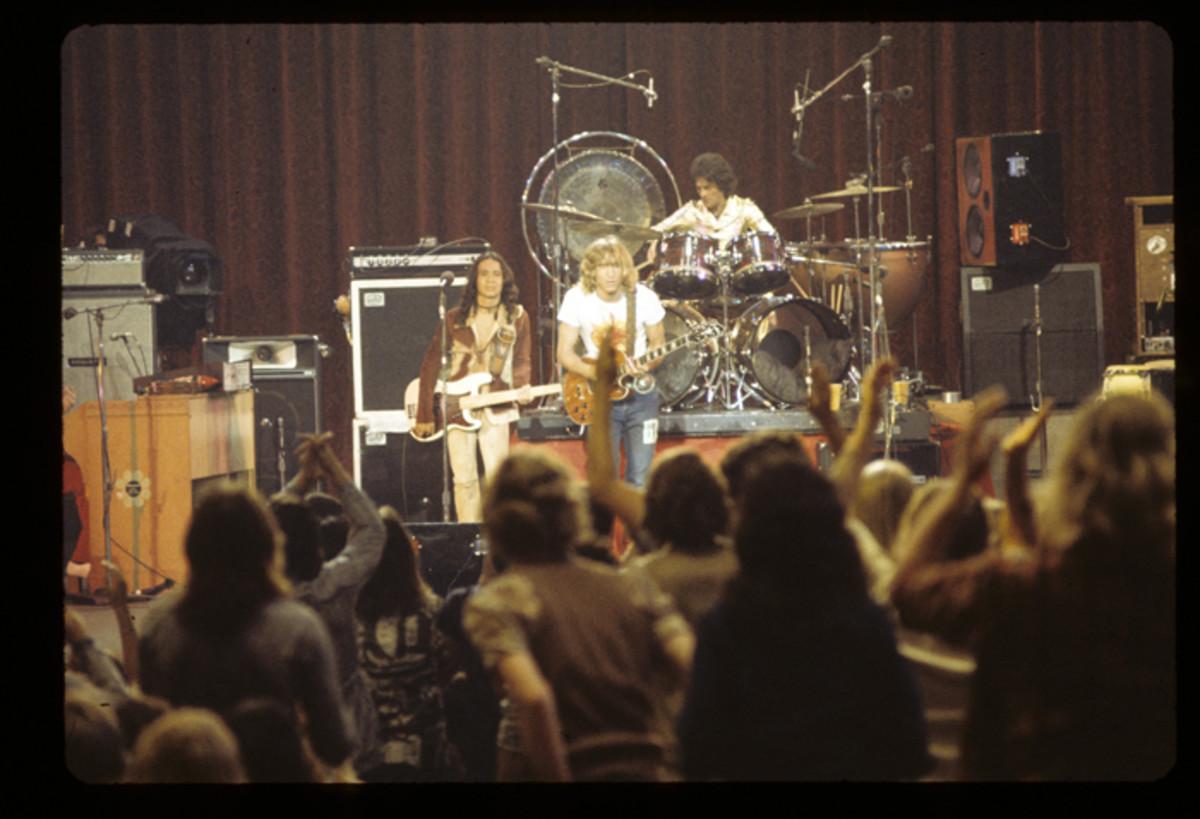JOE WALSH AND BARNSTORM: (L-R): Kenny Passarelli, Joe Walsh and Joe Vitale in concert on September 20, 1973.