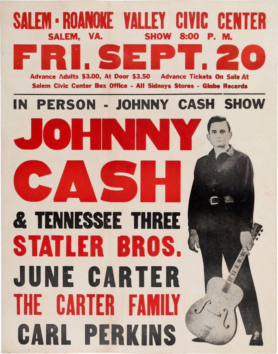 """Johnny Cash Salem-Roanoke Valley Civic Center Concert Poster (1968). Rare. Jumbo window card tour blank printed on card stock for a show in Salem, VA., Fri. Sept. 20. The poster shows a full length image of Johnny Cash with guitar in hand """"In person - Johnny Cash Show. JOHNNY CASH & Tennessee Three, Statler Bros., June Carter, The Carter Family"""" and """"Carl Perkins"""". Measures 22"""" x 28"""". In Very Good Plus condition. Restored, including touched-in areas to Johnny's face and some lettering. Some buckling, corners rounded. Interestingly, although June and Johnny had married some months before this concert date, this tour blank poster was printed well in advance, so it still shows her in the lineup as """"June Carter"""" not June Carter Cash. This oversized Johnny Cash poster is rare and highly sought after. The much smaller 14"""" x 22"""" version of this poster sold at Heritage in 2015 for $4,500. Image courtesy of Heritage Auctions."""
