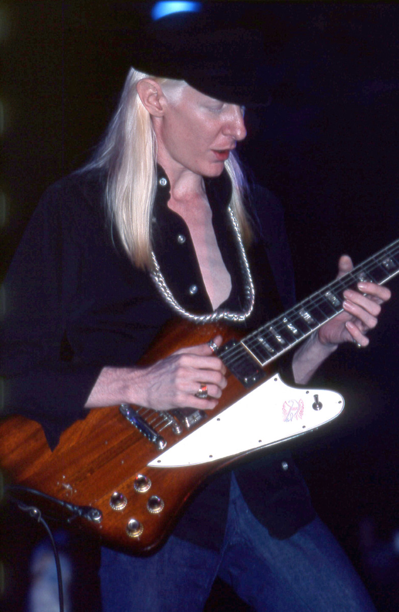 """WINTER 1976: A photograph of Johnny Winter live at the Felt Forum on April 3, 1976 — almost one month after this """"Time Capsule"""" interview took place. (Photo by Frank White)"""