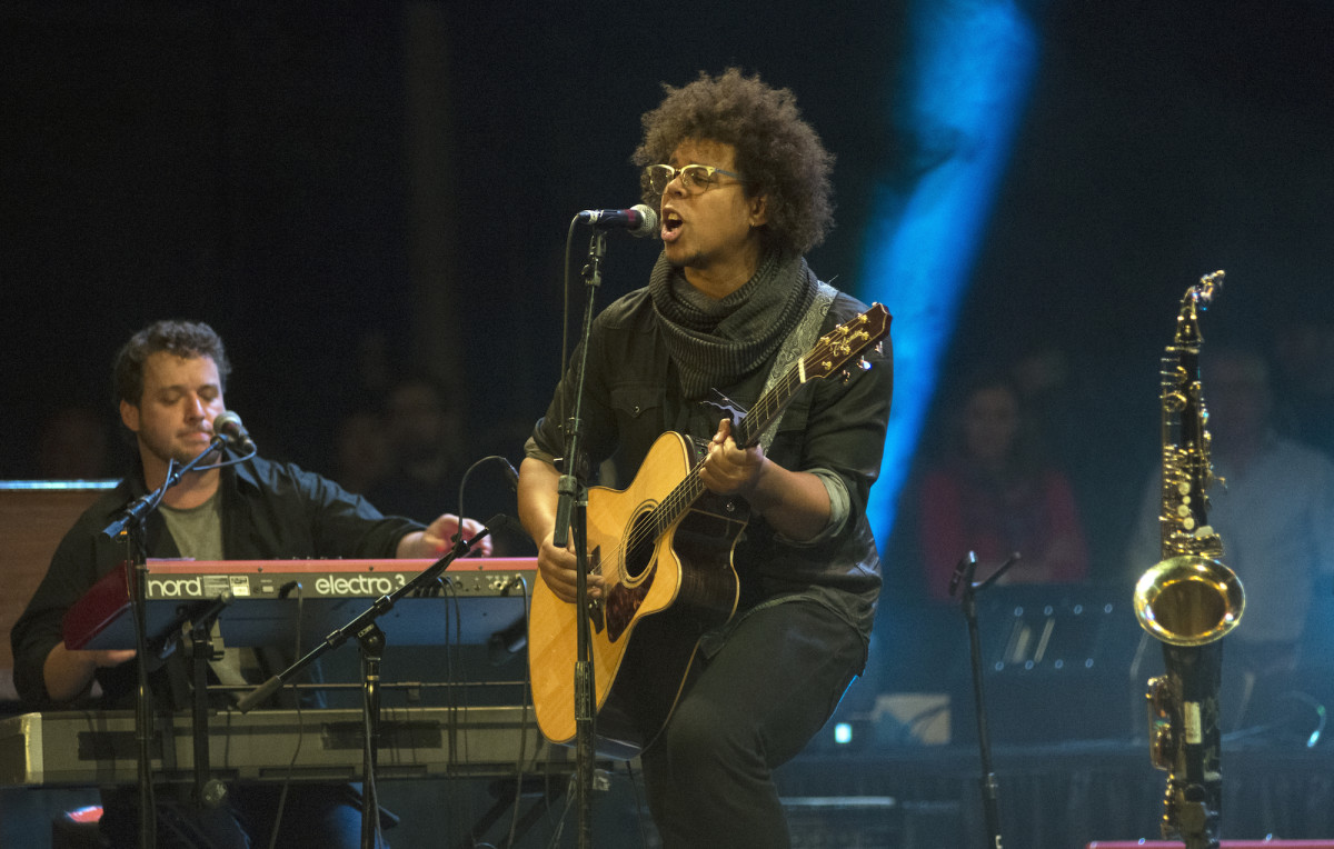 Jake Clemons alternated between acoustic guitar and saxophone during his Light of Day headlining set Jan. 14 at the Paramount Theatre in Asbury Park, N.J. (Photo by Chris M. Junior)