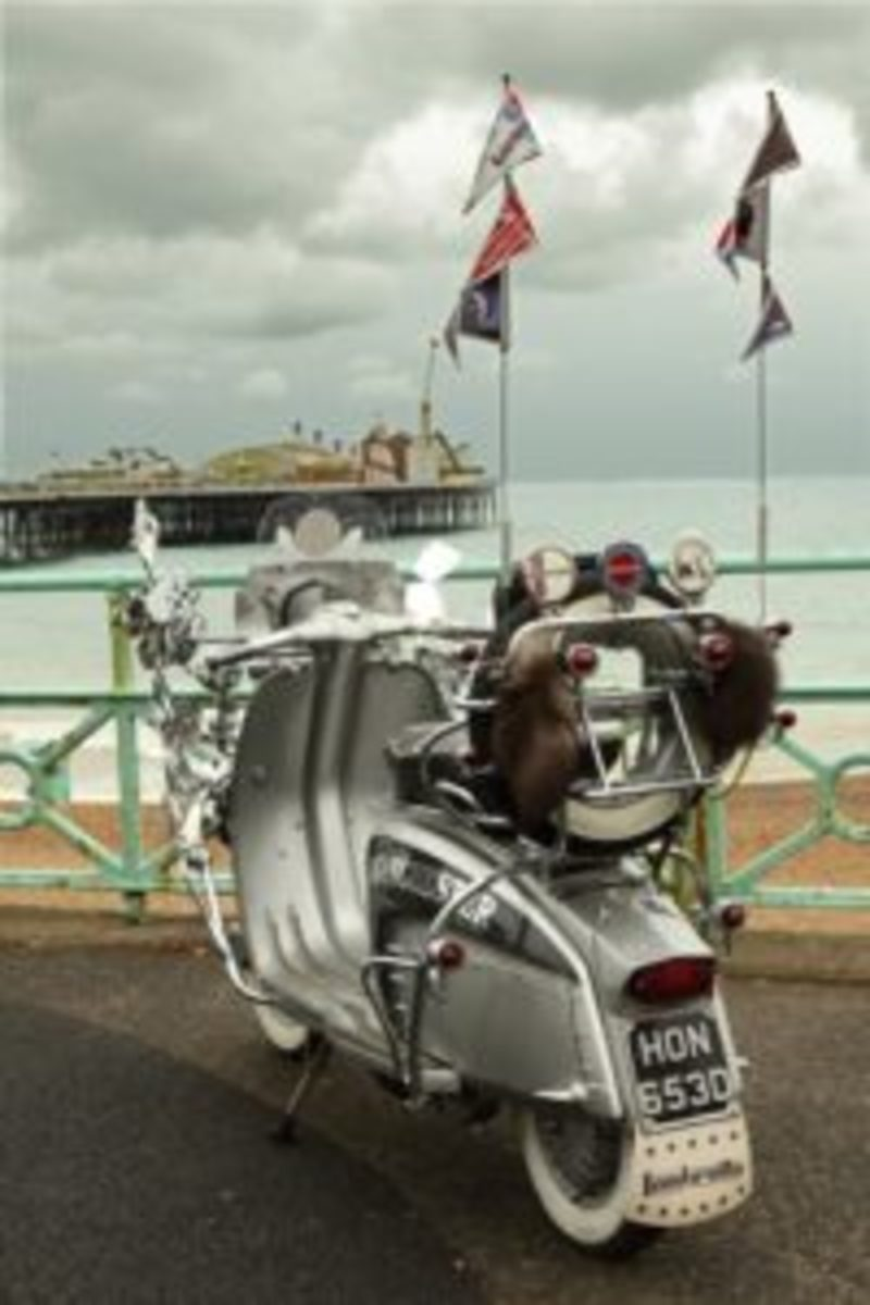 The Mod scooter that features prominently in The Pebble And The Boy promo film is shown here at the Brighton, England seafront with Brighton Pier in the background. (Photo by Gavin Jones)
