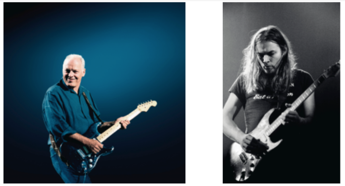 David Gilmour playing 'The Black Strat' (at left) for the 'Live At Abbey Road' series, 29th August 2006 (Photo: Polly Samson/Courtesy of Christie's) and (at right) with Pink Floyd, live at Earls Court, London, 19th May 1973 (Photo: Jill Furmanovsky/Courtesy of Christie's).