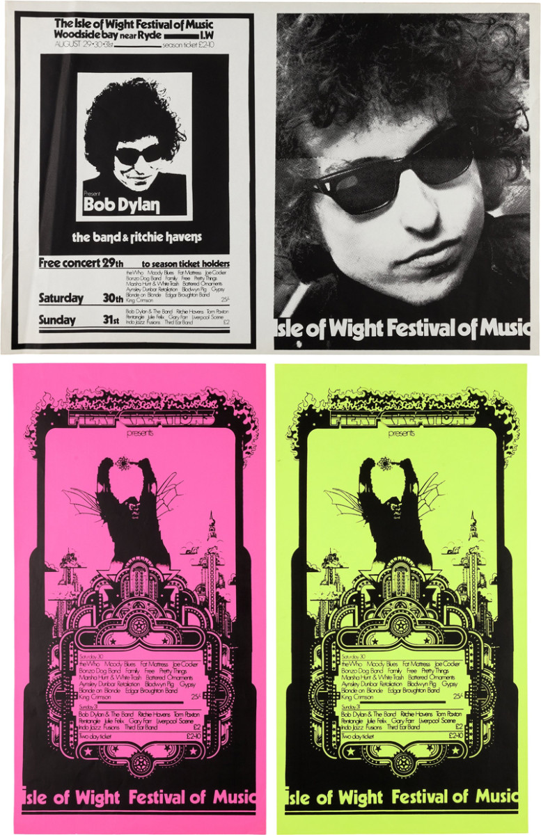 """Bob Dylan Isle Of Wight Festival Concert Posters (1970). Three paper posters promoting the two-day festival on August 29, 30, 1969. One is a black and white poster, with one half featuring an image of Dylan and the lineup for the two days. The other half of the poster shows a larger image of Dylan. The two other two are dayglo pink and green """"Fiery Creations"""" posters. The Dylan poster measures 34"""" x 22.5"""" and the other two both measure 16"""" x 30"""". The Dylan poster is in Very Good Plus condition with some minor creasing and slight toning at edges. The green poster is Very Good Plus with two small black scuff marks to top left corner. The pink poster is Near Mint Minus with minimal wear. The 1969 Isle of Wight Festival is famous for the re-emergence of Bob Dylan, who was making his first live performance for three years, after a near fatal motorcycle accident in 1966. Image courtesy of Heritage Auctions."""
