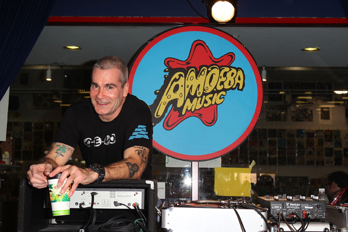 KCRW DJ Henry Rollins hosts record store day celebration at Amoeba Music on April 16, 2011 in Hollywood, California. (Photo by Joe Scarnici/WireImage)