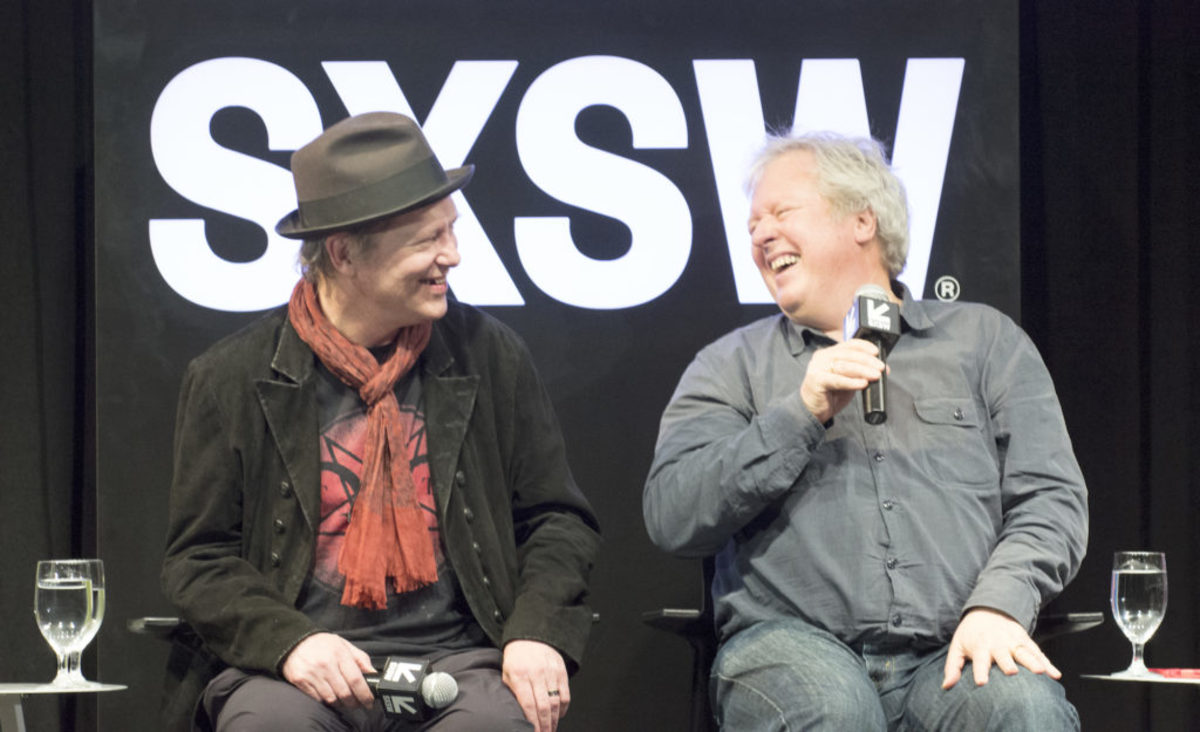 Talking Heads drummer Chris Frantz (right) shares a laugh with Television guitarist Richard Lloyd. (Photo by Chris M. Junior)
