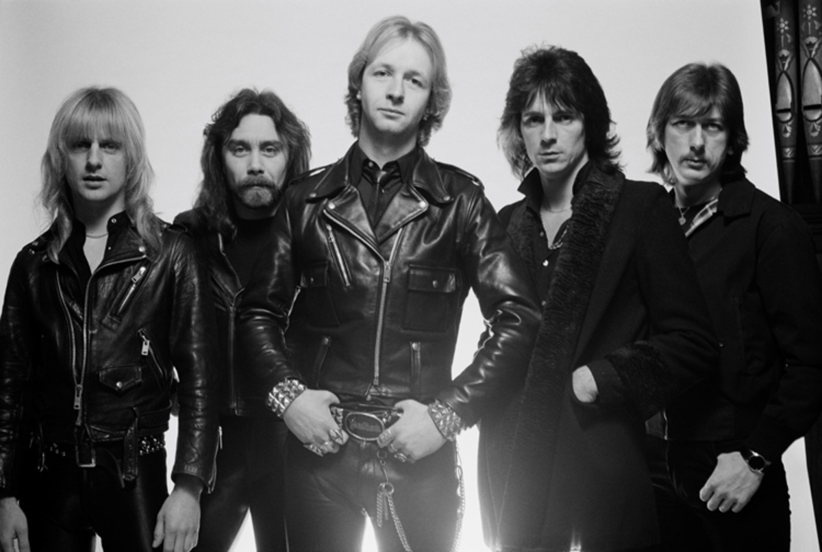 Judas Priest posed for this group shot in London in February 1980. L-R, K.K. Downing, Ian Hill, Rob Halford, Glenn Tipton and Dave Holland. Photo by Fin Costello/Redferns.