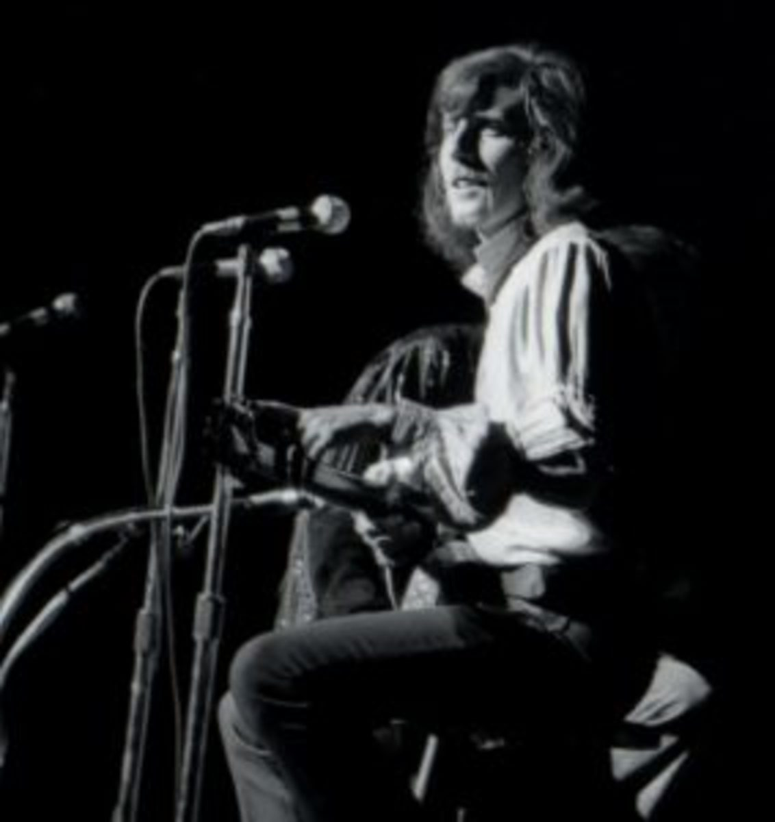 Graham Nash performing with CSNY in 1970 at the Fillmore East in New York City. (Photo by Jason Laure/Frank White Photo Agency)