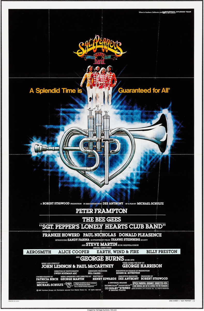 """Besides the film being a famous flop, the movie poster for """"Sgt. Pepper's Lonely Hearts Club Band"""" (Universal, 1978) doesn't seem to fare much better. A folded poster, graded as Fine+ (above), sold for a measly $20 in 2016 at Heritage Auctions."""