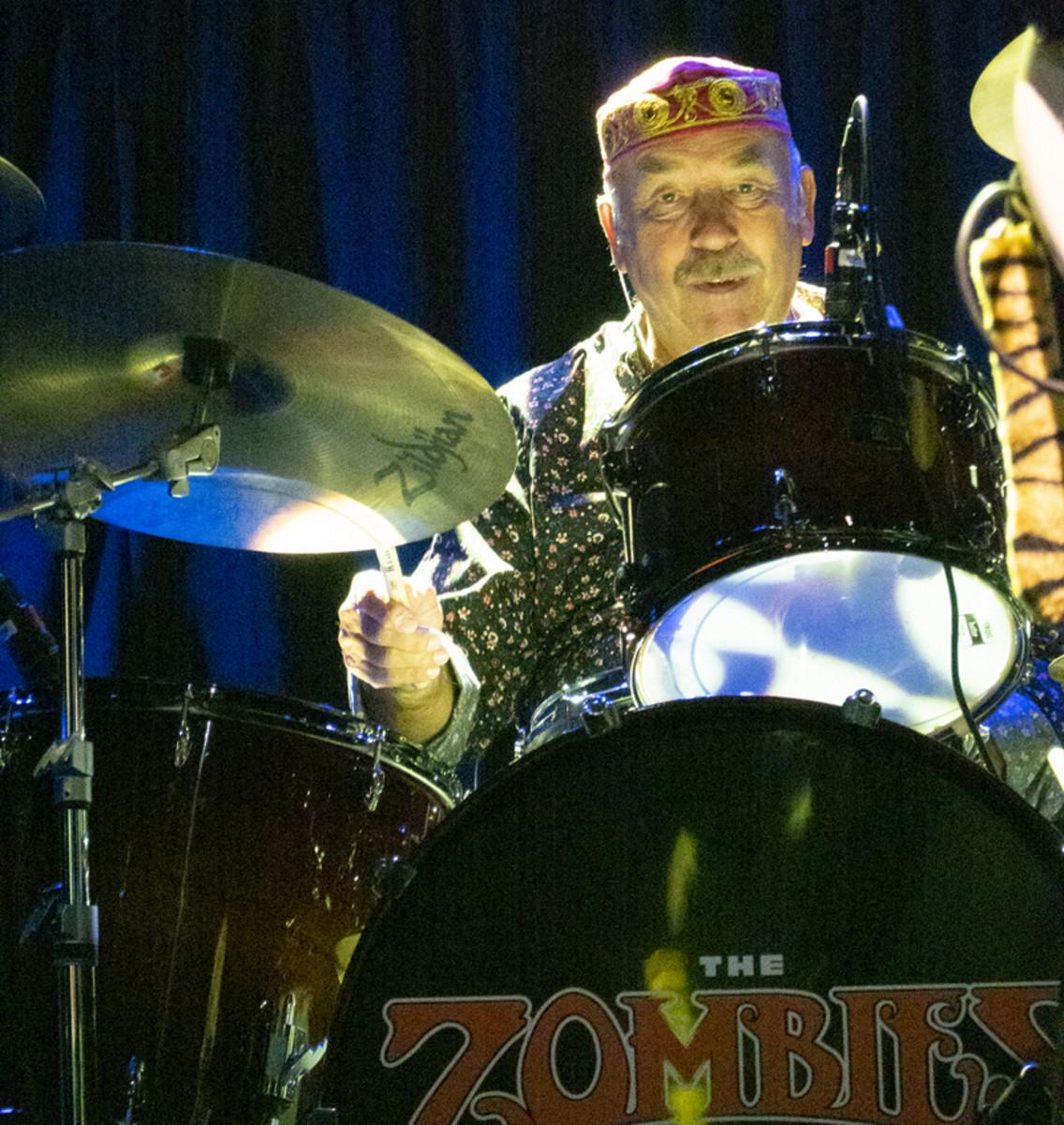 Hugh Grundy on drums.Photo by Bruce Frumerman.