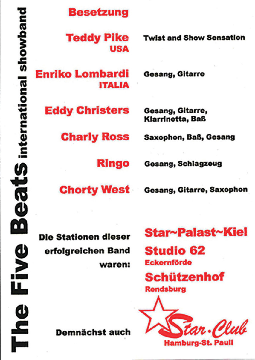 """A '60s German Star Club concert poster, when Travis Pike was billed as """"Teddy Pike, Twist and Show Sensation."""""""