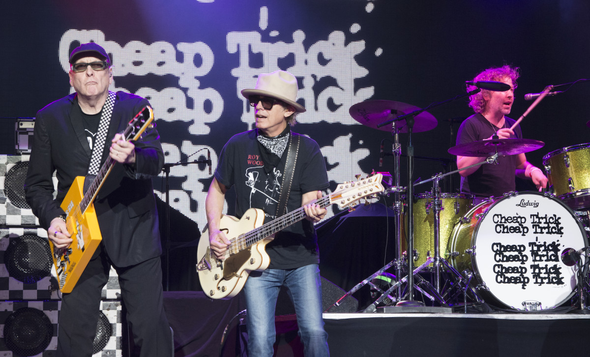Rick Nielsen, Tom Petersson and Dax Nielsen of Cheap Trick. (Photo by Chris M. Junior)