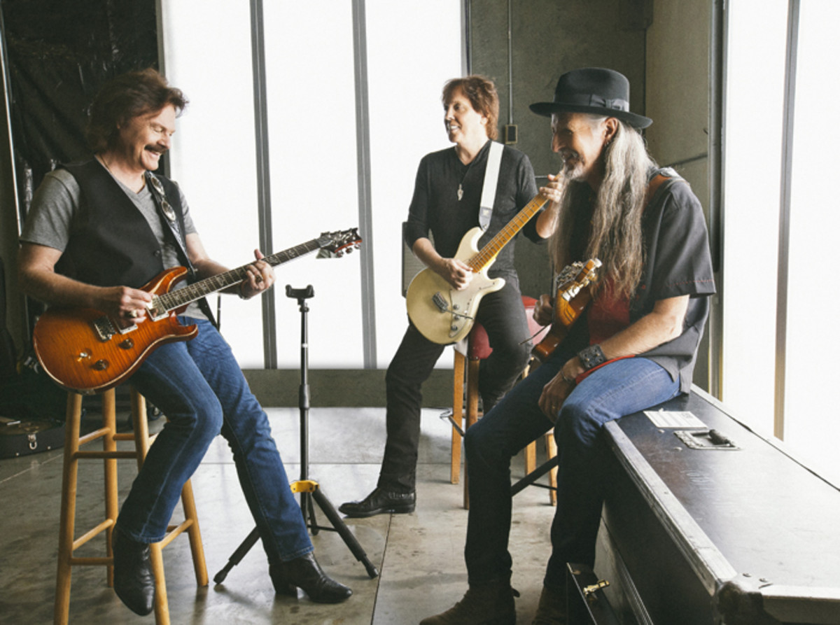 Doobies (left to right): Tom Johnston, John McFee and Patrick Simmons are always ready to jam, record and tour. Photo by Jim Shea.