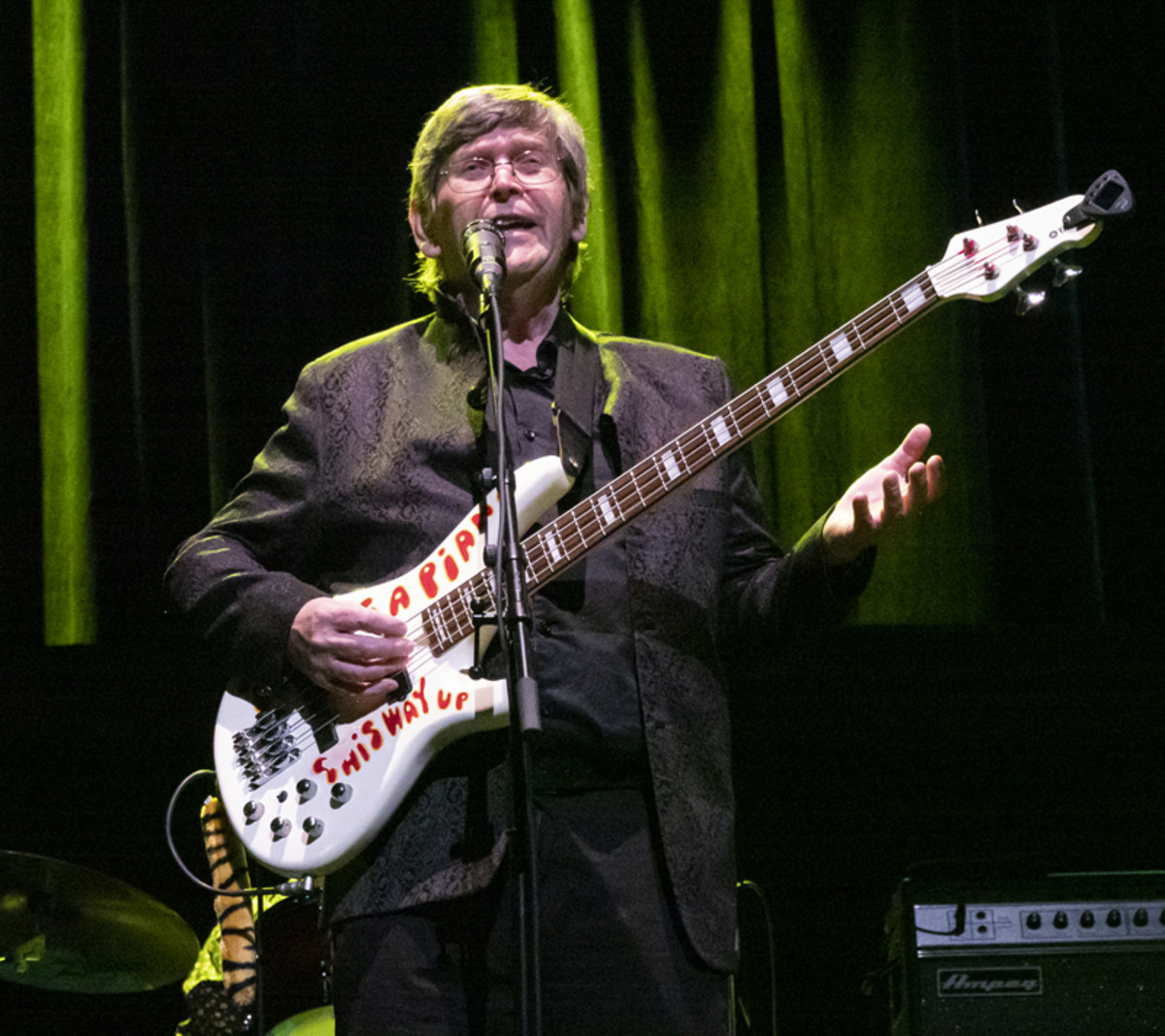 Chris White on bass, performing live with The Zombies. Photo by Bruce Frumerman.