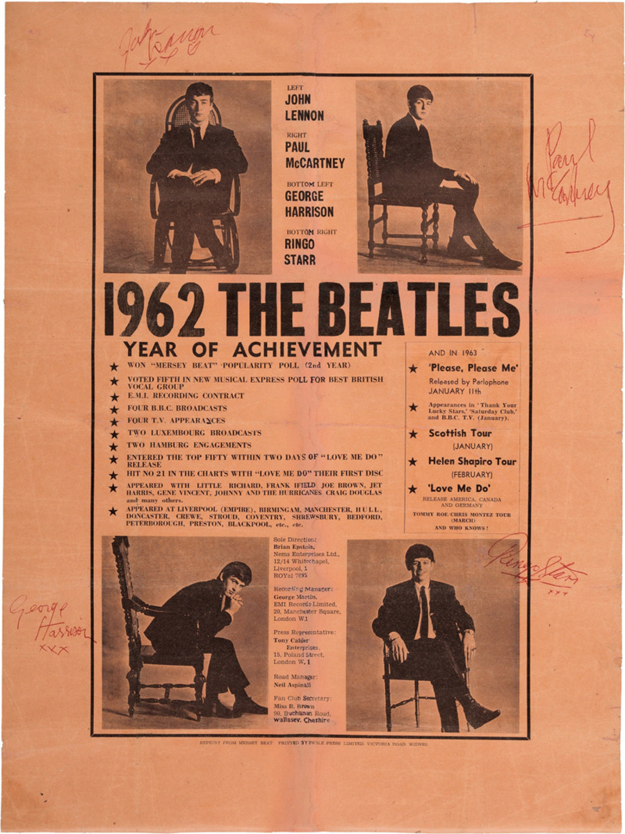 """Beatles Signed Vintage 1962 Year of Achievement Poster Reprinted from Mersey Beat (Liverpool, December 1962). A 15"""" x 20"""" poster on light orange paper with an individual photo in each corner next to which the corresponding Beatle has signed his name in red ballpoint ink: """"John Lennon/ xxx"""", """"Paul McCartney"""", """"George Harrison/ xxx"""", and """"Ringo Starr/ xxx"""". This poster was enlarged and reprinted from the December 19, 1962, issue of the Liverpool-based music paper titled Mersey Beat and printed by Swale Press Limited in Widnes. The original ad was taken out by Brian Epstein proudly listing the group's achievements from the first year of his management, including the following: Won Mersey Beat Popularity Poll (2nd Year); E.M.I. Recording Contract; Four B.B.C. Broadcasts; Two Hamburg Engagements; and Entered the Top 50 Within Two Days of """"Love Me Do"""" Release. He also lists some of the upcoming events for 1963 including: the release of """"Please Please Me"""", a Scottish Tour in January, a Helen Shapiro Tour in February, the list ending with """"And Who Knows!"""" The photos on this poster were taken in November by Astrid Kirchherr in Hamburg. At the bottom is the contact information for Epstein, George Martin, Tony Calder, and the Fan Club. A rare and desirable piece of signed Beatle history, worthy of the finest collections and perfect for display. The signatures are quite early examples, dating from very near the date of the poster. For accuracy, we note several original flattened folds with tiny holes, pinholes at the corners, and restoration at the center vertical fold affecting a few letters of text. Fine condition. COA from Heritage Auctions. Image courtesy of Heritage Auctions."""