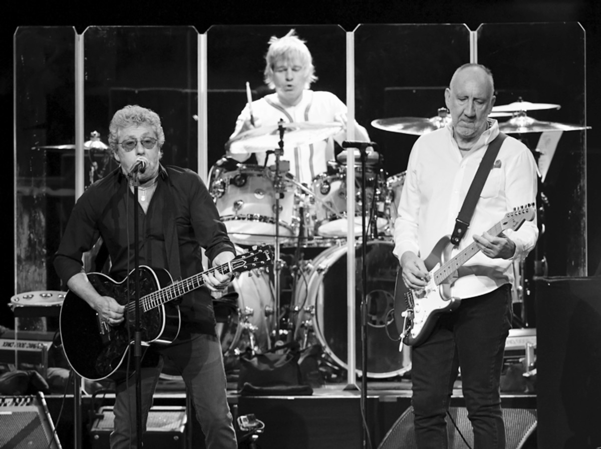 (L-R) Singer Roger Daltrey, touring drummer Zak Starkey and guitarist Pete Townshend of The Who perform on the first night of the band's residency at The Colosseum at Caesars Palace on July 29, 2017 in Las Vegas, Nevada. (Photo by Ethan Miller/Getty Images)