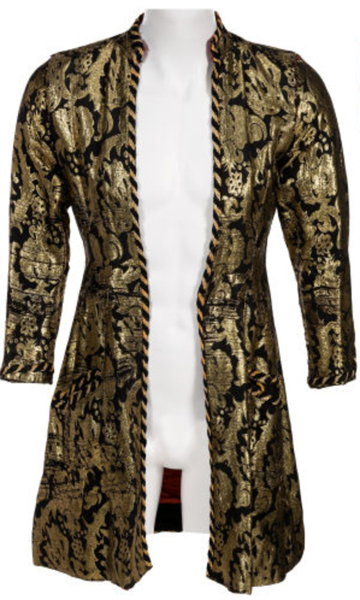 The black & gold Indian thread jacket, retrieved from a Hollywood studio's prop house by Cindy Smith, the group's tailor. Photo courtesy of Heritage Auctions, taken from the Neal Smith Alice Cooper Collection.