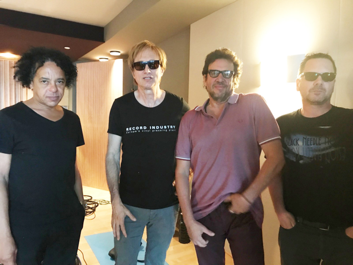 Memories from 2017: In the mastering studio with (L-R) Voidoids' guitarist Ivan Julian, Record Store Day's Michael Kurtz, Richard Hell and RSD organizer Rick Johnson. Photo courtesy of Michael Kurtz/RSD.