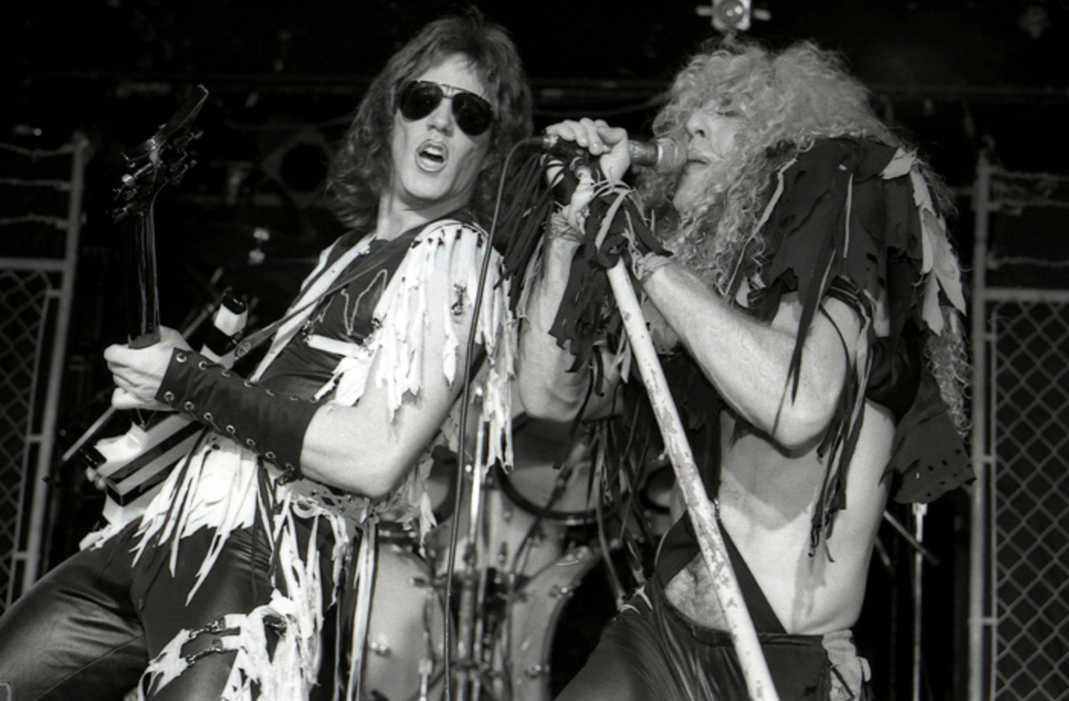 Twisted Sister's Jay Jay French and Dee Snider performing in 1984 at the rock club, L'Amour in Brooklyn, N.Y. (Photo by Frank White)