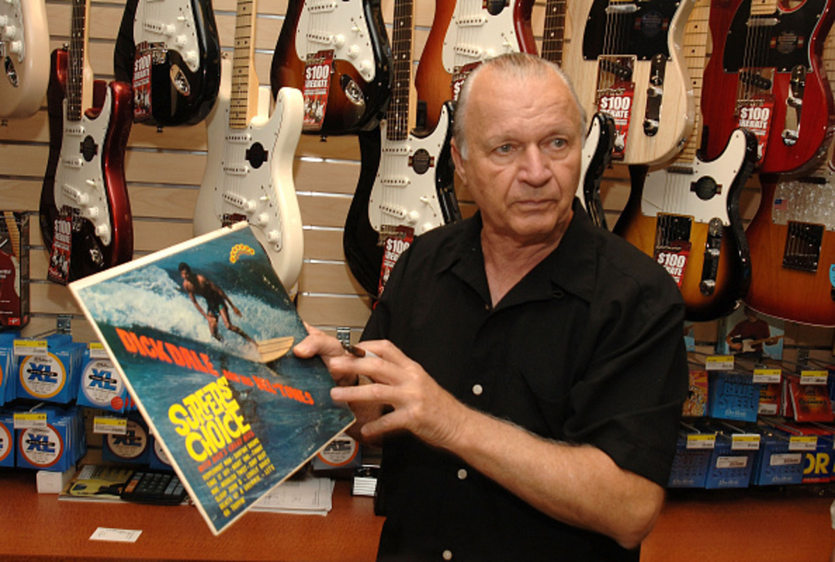 Dick Dale holds up the record Surfers' Choice at the 2009 J&R MusicFest at City Hall Park on August 27, 2009 in New York City. (Photo by Duffy-Marie Arnoult/WireImage)