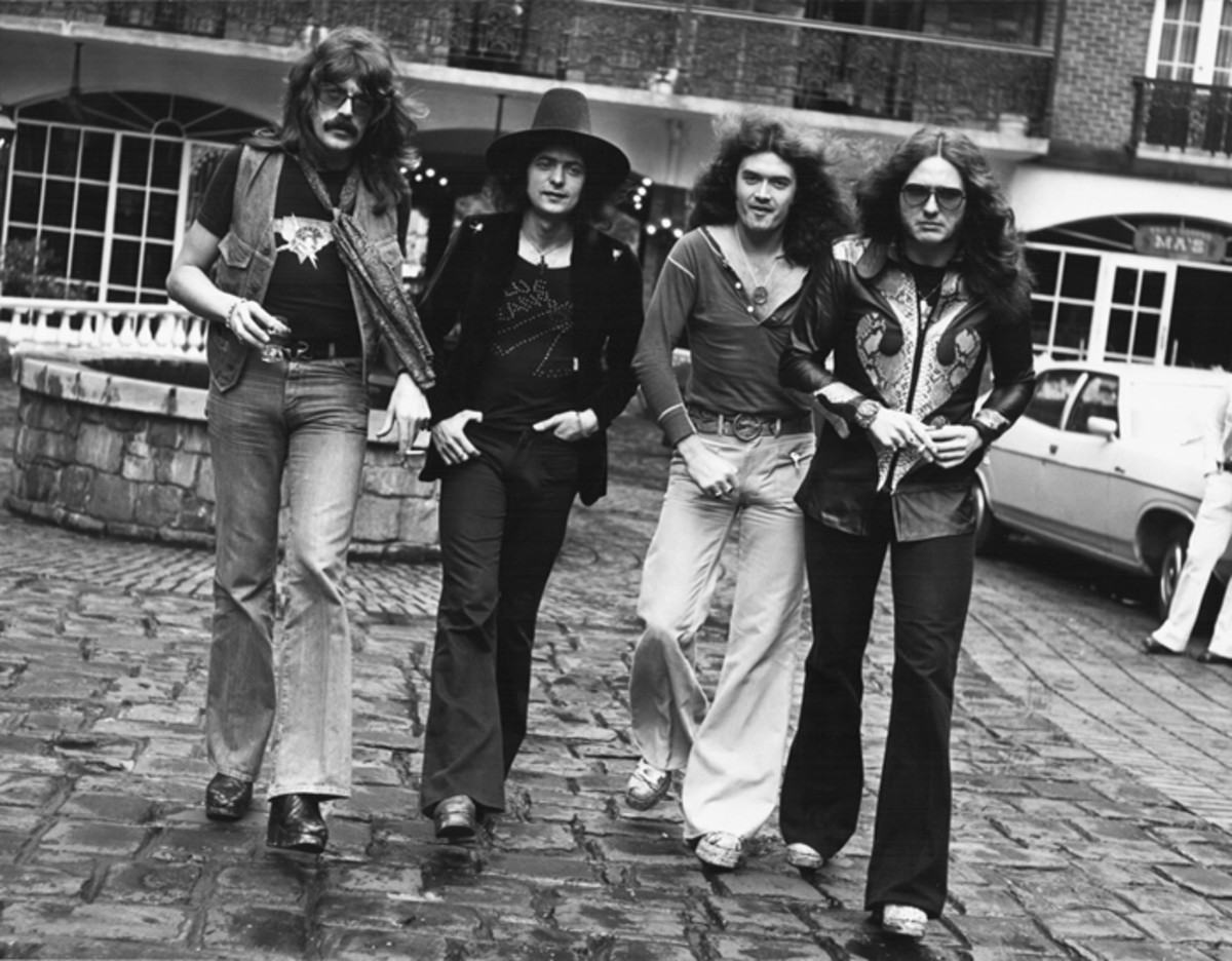 READY FOR DEPARTURE: Members of Deep Purple — Lord, Blackmore, Hughes and Coverdale — in early 1975, right before Blackmore's departure to launch Rainbow.