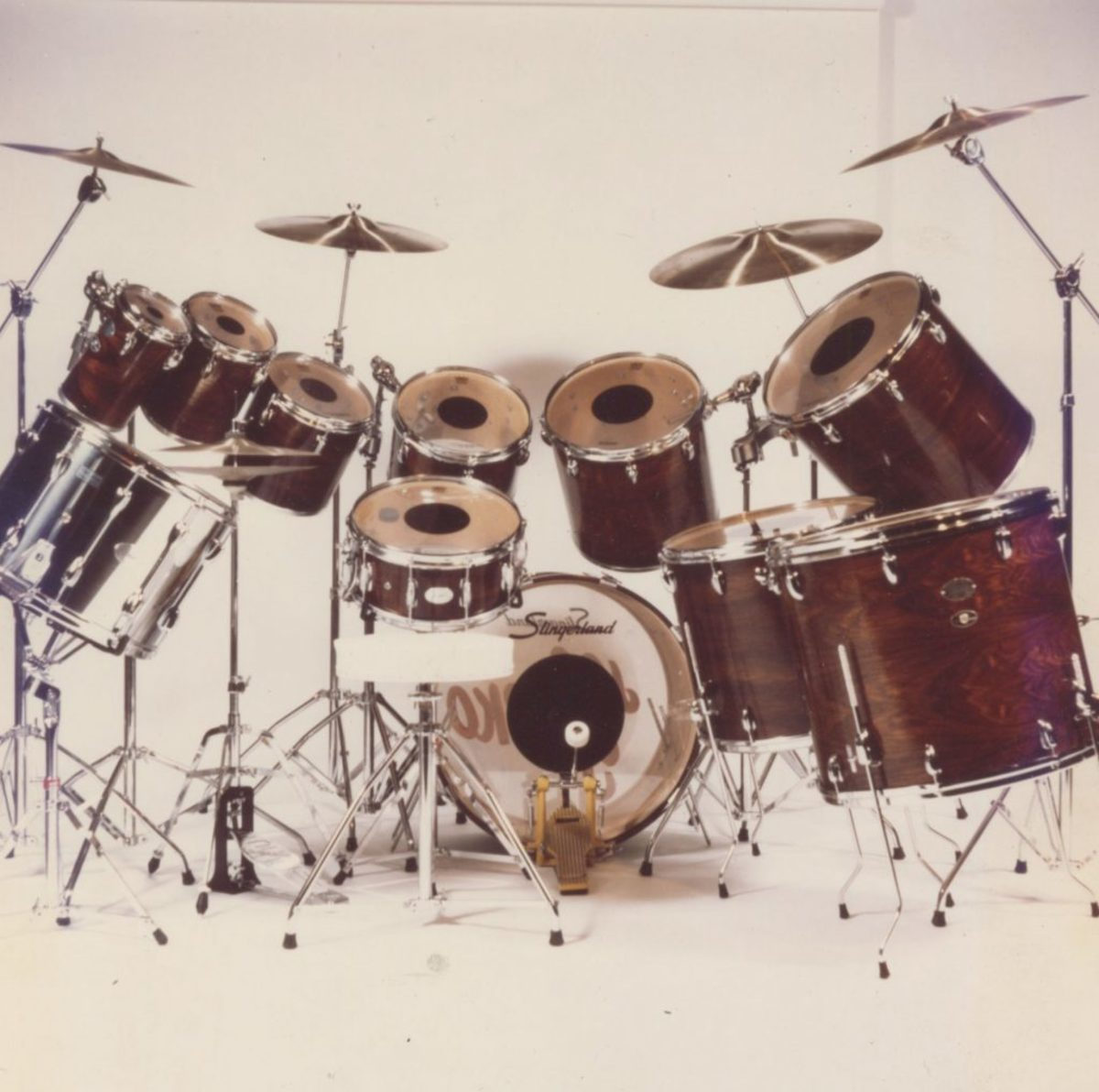 """Joe Stefko's drum kit from the 1977/1978 Meat Loaf """"Bat Out of Hell"""" world tour. Photo courtesy of Backstage Auctions."""