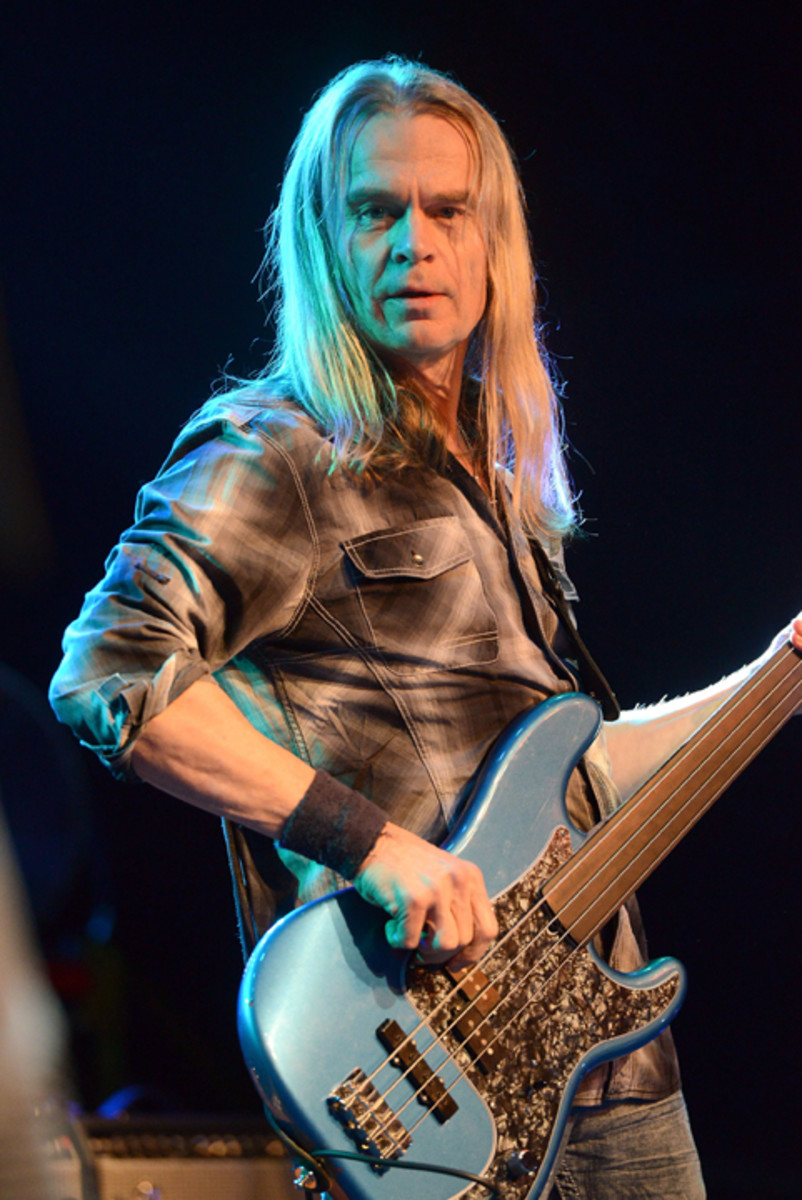 Bass player Tony Franklin performs onstage at The Canyon Club on February 3, 2017 in Agoura Hills, California. (Photo by Scott Dudelson/Getty Images)