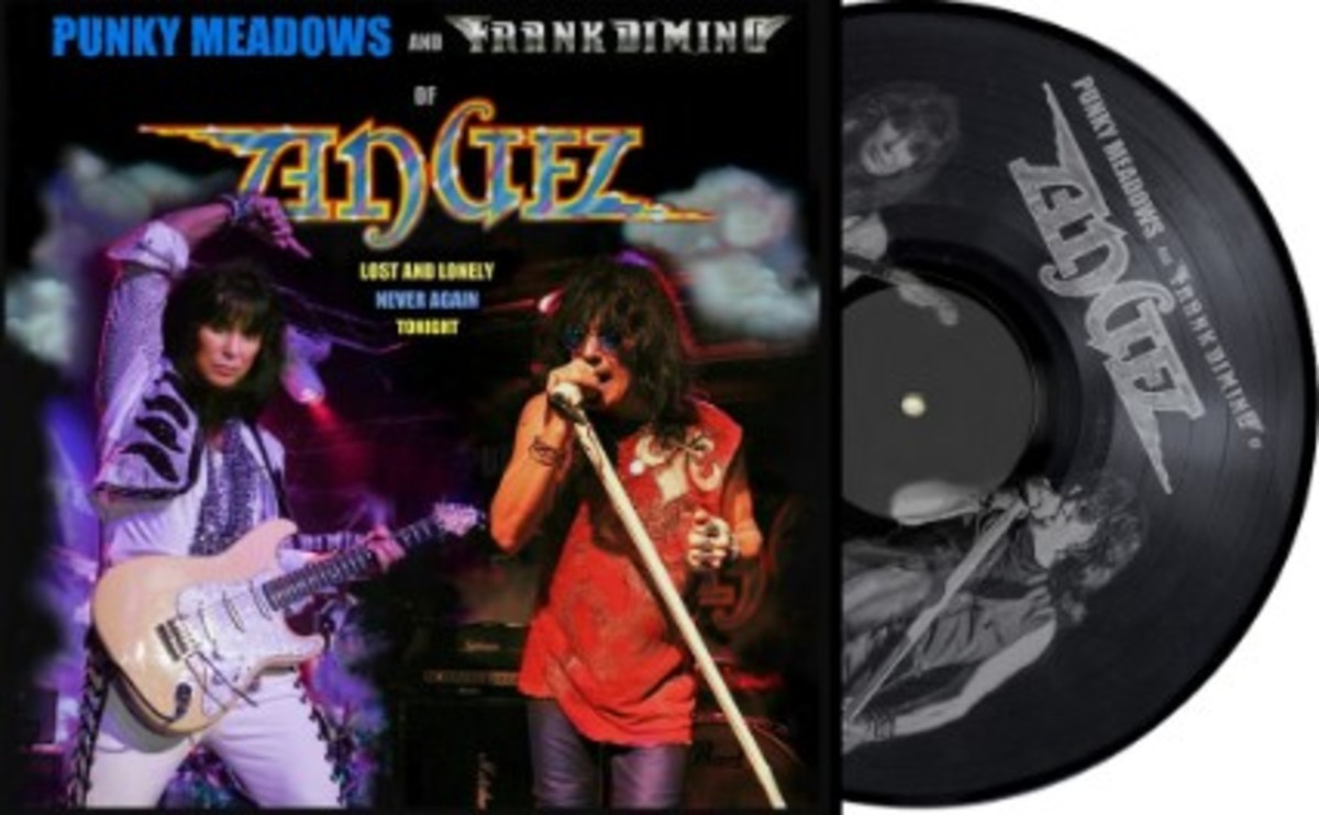 Black vinyl with etched image and official Angel logo, designed by Bob Petrick (which reads the same upside down)..